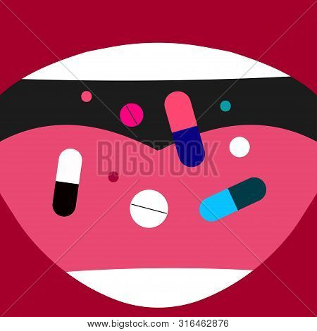 Overdose Of Pills, Drugs, Tablets, Female Mouth With Pills, Girl Taking Medicine, Nutritional Biolog