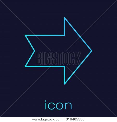 Turquoise line Arrow icon isolated on blue background. Direction Arrowhead symbol. Navigation pointer sign. Vector Illustration poster