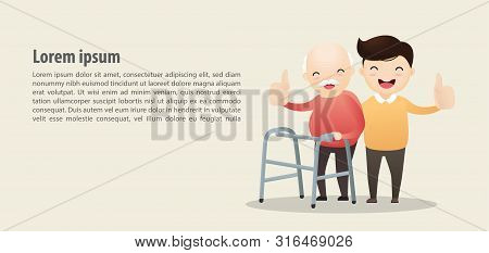 Old Man Walking With A Walking Stick. Man Caring For Elderly Man With Walking Stick. Vector, Illustr
