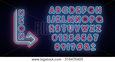 Neon Glowing Alphabet. Bright Typeface. Set Of Neon Letters And Numbers. Alphabet On Dark Background