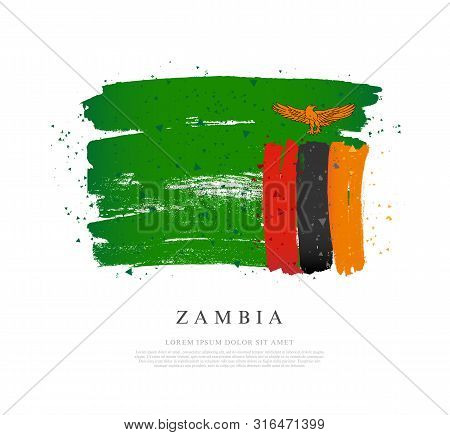 Flag Of Zambia. Vector Illustration On A White Background. Brush Strokes Are Drawn By Hand. Independ