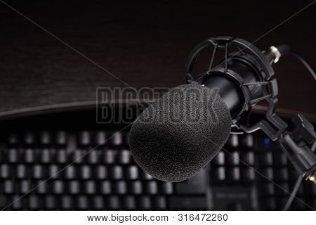 Black Studio Condenser Microphone Other Computer Keyboard. Podcasting Or Internet Broadcasting Conce
