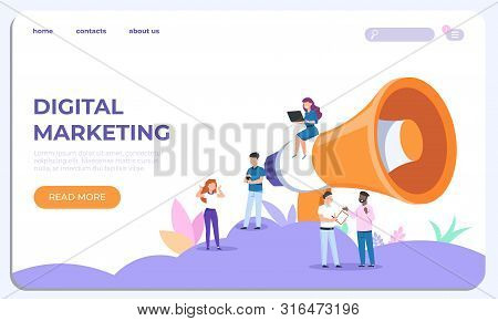 Digital Marketing Landing Page. Specialists Working On Business Analysis. Vector Illustrations Moder