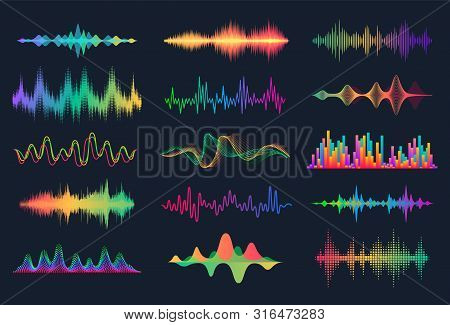 Sound Waves. Frequency Audio Waveform, Music Wave Hud Interface Elements, Voice Graph Signal. Vector
