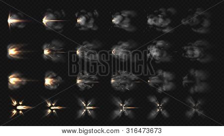 Gun Flash Effects. Realistic Special Effects Steps Of Smoke Clouds And Shotgun Fire, Muzzle Flash An