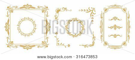 Decorative Frame Elements. Vintage Floral Ornamental Borders And Dividers For Greeting And Invitatio