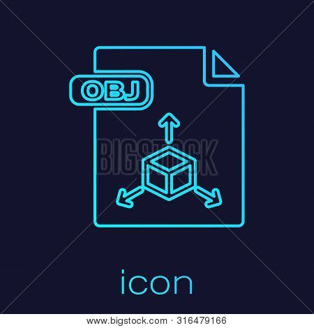 Turquoise Line Obj File Document. Download Obj Button Icon Isolated On Blue Background. Obj File Sym