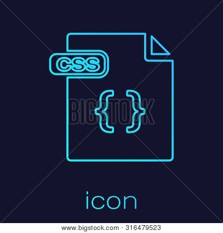 Turquoise Line Css File Document. Download Css Button Icon Isolated On Blue Background. Css File Sym