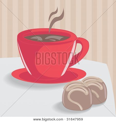 Cup of coffee with chocolate cakes
