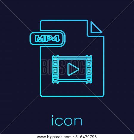 Turquoise Line Mp4 File Document. Download Mp4 Button Icon Isolated On Blue Background. Mp4 File Sym