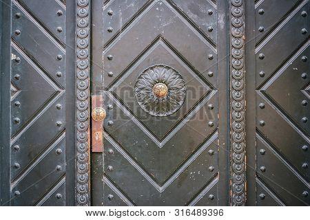 Old Door Closeup - Vintage Building Entrance Door