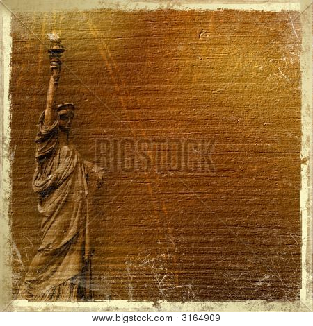 Statue Of Liberty In The Abstract Background