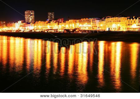 Brighton City Lights Seafront Night