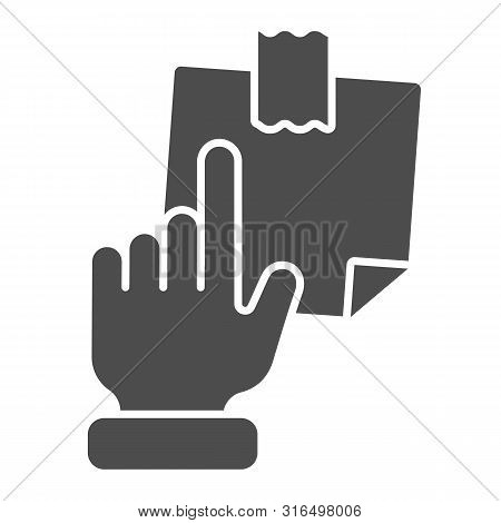 Hand Pointing At Sticky Note Solid Icon. Finger Pointing To Paper Sticker Vector Illustration Isolat