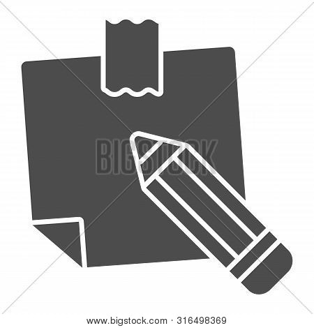 Sticky Note Solid Icon. Paper Sticker Vector Illustration Isolated On White. Notepaper And Pencil Gl