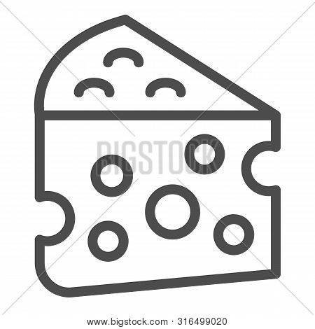 Cheese Line Icon. Milk Food Vector Illustration Isolated On White. Cheddar Outline Style Design, Des