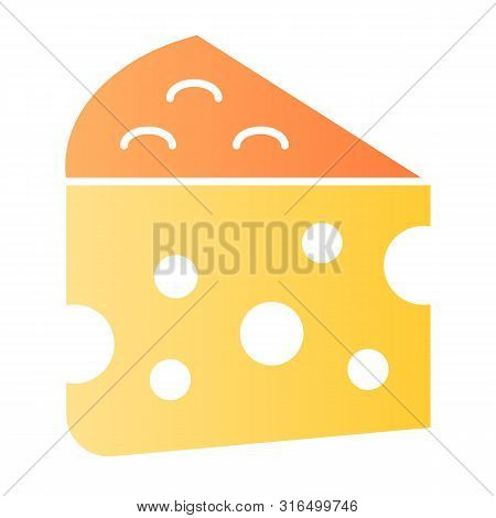 Cheese Flat Icon. Milk Food Color Icons In Trendy Flat Style. Cheddar Gradient Style Design, Designe