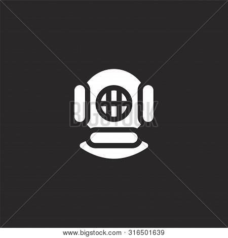 Diving Helmet Icon. Diving Helmet Icon Vector Flat Illustration For Graphic And Web Design Isolated
