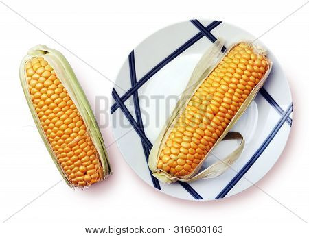 Still Life With Two Yellow Ripe Corn On Cob And Beautiful Plate Against White Backgrownd. Selective