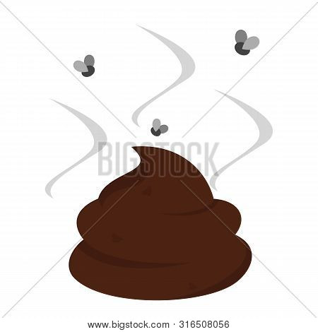 Fly Around The Brown Stinky Poop Vector Isolated. Dog Excrement. Smelly Stink From The Shit. Insect