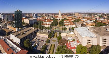 University Of Texas At Austin Panorama Aerial View Including Ut Tower And Main Building In Campus, A