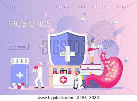 Tiny Doctors Give Stomach Prebiotic, Lactobacillus. Probiotics Bacteria Concept Vector For Horizonta