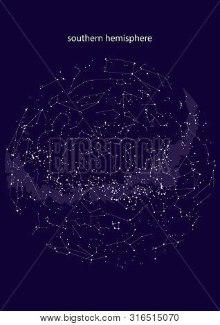 True Constellations Of The Southern Hemisphere, Star Map. Science Astronomy, Star Chart On Blue Back