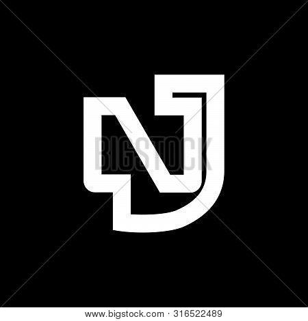 Letter Nj Simple Geometric Line Logo Vector