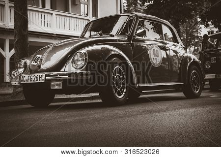Binz, Germany - May 31, 2019: Old Vw Beetle 1303 Cabrio Parked In A Street During The Ruegen Classic