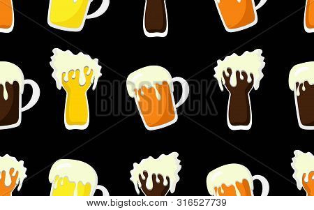 Beer Mug Pattern.cartoon Pattern With Seamless Background Of Mugs And Tankards Full Of Light Beer, L