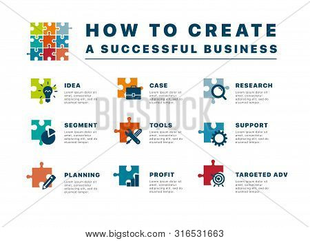 How To Create A Successful Business. Puzzle Infographics Creating A Successful Business. Template Bu