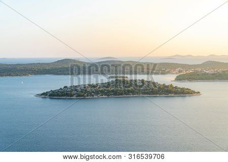 Islands On Sea With Sun Flare - Kornati National Park Croatia