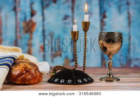Fresh Homemade Wine, Challah And Candles For The Holy Sabbath Prayer Shawl Tallit Jewish Religious S