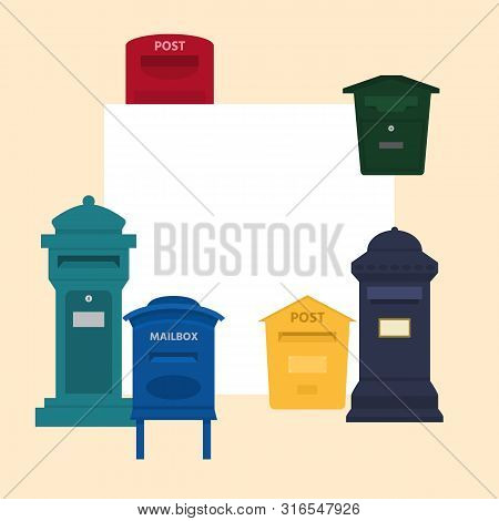 Mail Box Vector Illustration With Space For Text Banner. Post Mailbox Or Postal Letterbox Of America