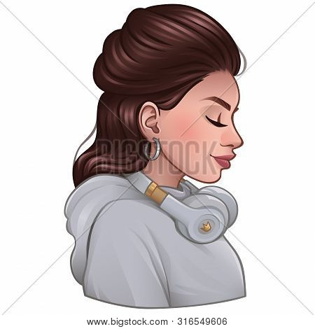 Brunette Girl With Closed Eyes In A White Sweater With Headphones. Vector Illustration