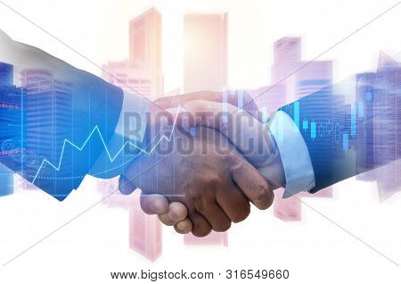 Partner. Investor Business Man Handshake With Partner For Successful Project Meeting With Graph Char