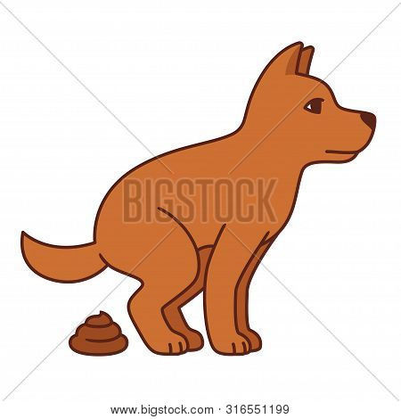 Cartoon Dog Pooping Illustration. Isolated Vector Clip Art Of Defecating Dog.