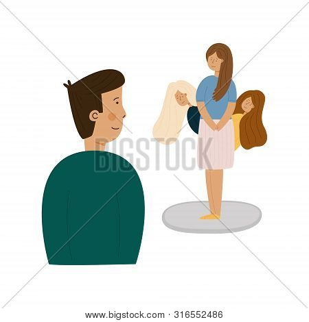 image smiling boy looking his darling, shy girl with long chestnut hair looking down and her girlfriends or sisters with light and dark hair watching guy, observe and evaluate it. poster