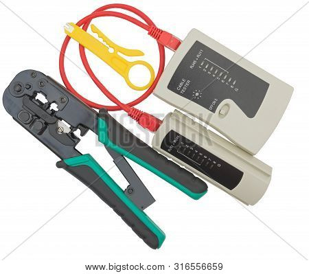 Network tester and crimping tool with RJ45 connector on a white background poster