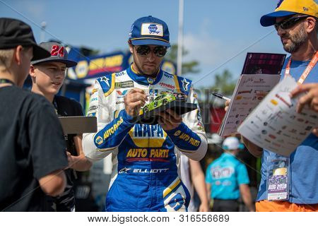 August 03, 2019 - Watkins Glen , New York, USA: Chase Elliott (9) gets ready to practice for the Go Bowling at The Glen at Watkins Glen International in Watkins Glen , New York.