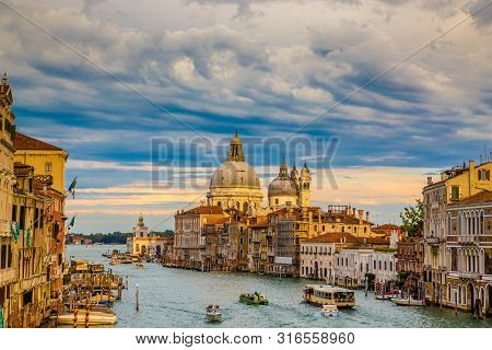 Cityscape Of Venice With Grand Canal And Salute Cathedral - Venice, Veneto, Italy, Europe