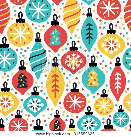 Cute Christmas Treasures Seamless Pattern Background With Hand Drawn Christmas Balls