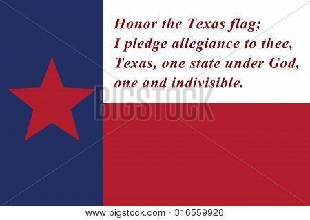 Pledge Of Allegiance  To The Texas State Flag Red, White And Blue With Star 3d Illustration