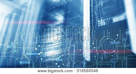 Schematic Electronic Draft Server Room Information Communication Technology Background. Template Des