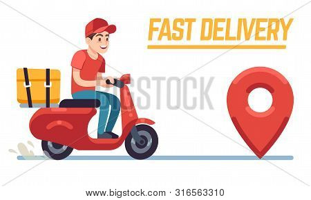 Scooter With Delivery Man. Fast Courier With Pizza, Motorcycle Driver On Road To Client. Restaurant