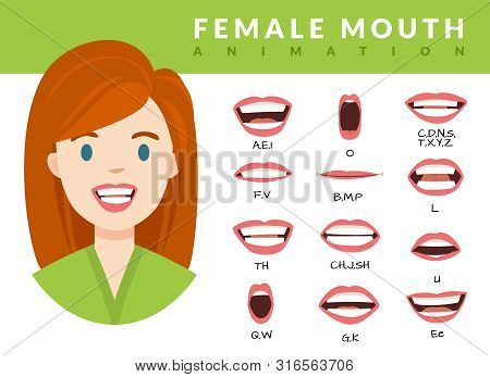 Female Mouth Animation. Womans Talking Mouths Lips For Cartoon Character Animation And English Pronu