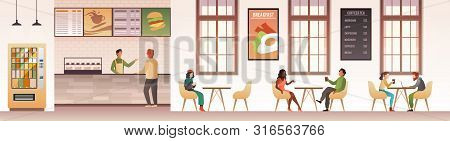 People At Restaurant. Guys Snacking Meal In Food Court, Family Eating Dinner In Cafeteria Or Buffet