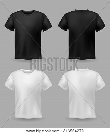 White And Black T-shirt Mockup. Sport Blank Shirt Template Front And Back View, Men And Women Clothe