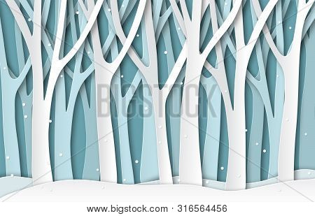 Paper Winter Forest. White Frozen Trees Silhouettes, Christmas Season Natural Paper Cut Landscape. 3
