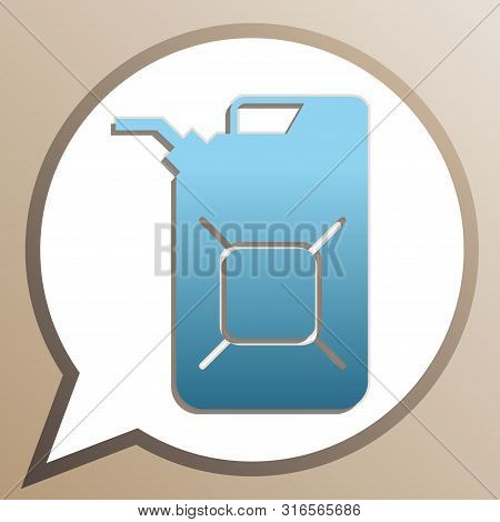 Jerrycan Oil Sign. Jerry Can Oil Sign. Bright Cerulean Icon In White Speech Balloon At Pale Taupe Ba